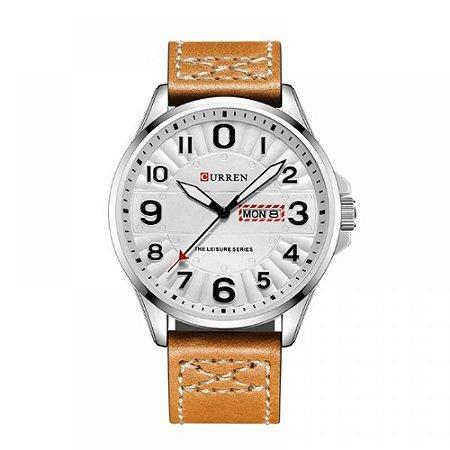 Relógio Masculino Curren Analógico 8269 - Bege, Prata e Branco