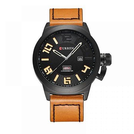 Relógio Masculino Curren Analógico 8270 Preto e Bege