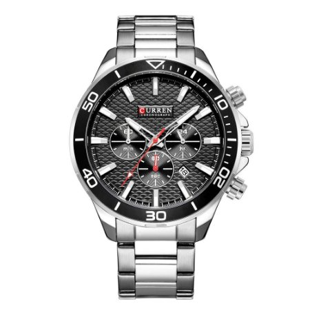 Relógio Masculino Curren Analógico 8309 - Prata e Preto