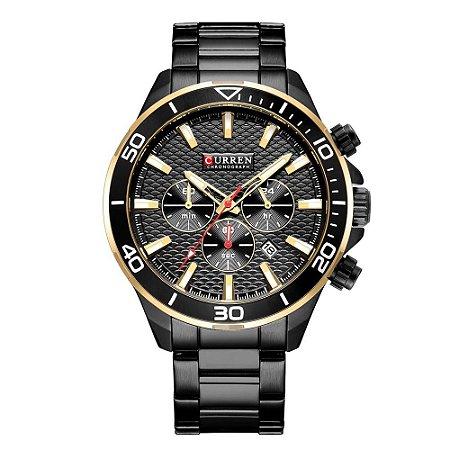 Relógio Masculino Curren Analógico 8309 - Preto e Dourado