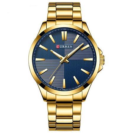Relógio Masculino Curren Analógico 8322 - Dourado e Azul