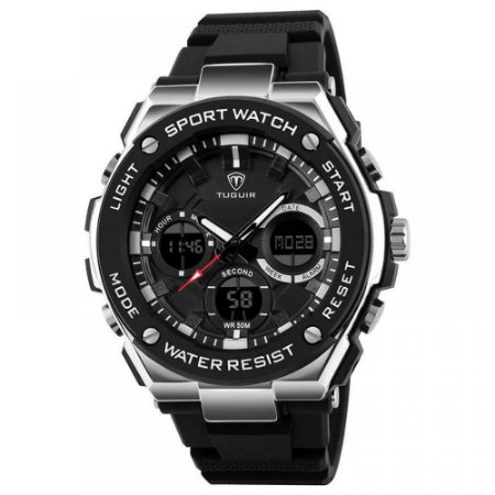 Relógio Masculino Tuguir Anadigi TG1187 Preto e Prata