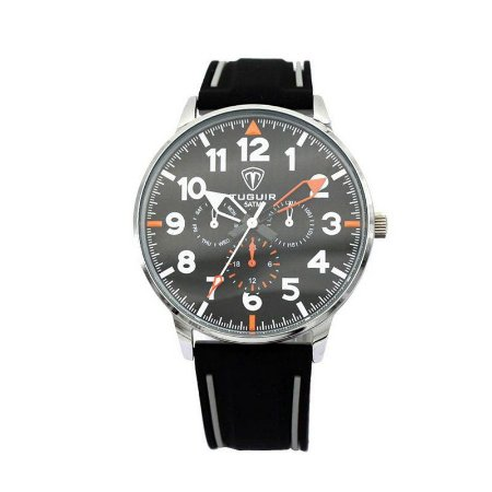 Relógio Masculino Tuguir Analógico 5002 Preto e Prata-