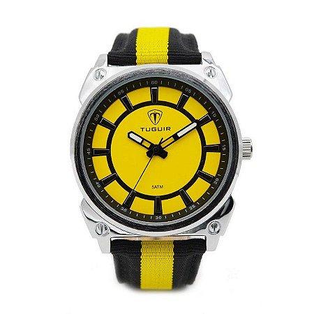 Relógio Masculino Tuguir Analógico 5007 - Amarelo, Preto e Prata-
