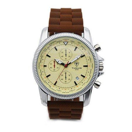 Relógio Masculino Tuguir Analógico 5009 Bege e Marrom-