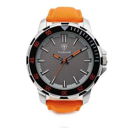 Relógio Masculino Tuguir Analógico 5012 - Laranja e Prata-