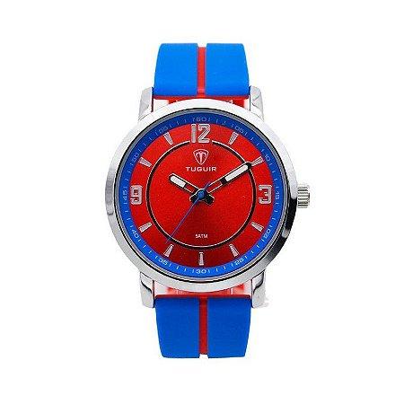 Relógio Masculino Tuguir Analógico 5016 - Azul e Vermelho-