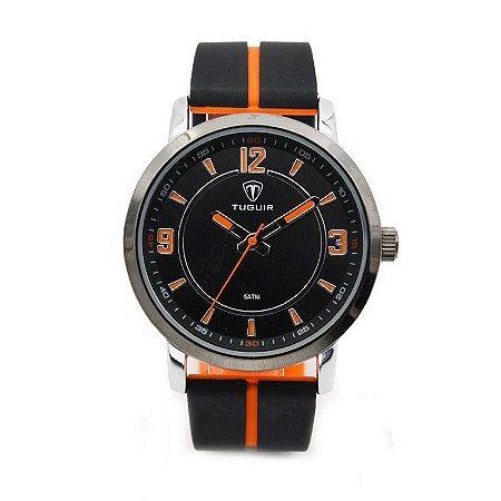 Relógio Masculino Tuguir Analógico 5016 - Preto e Laranja-