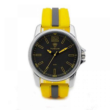 Relógio Masculino Tuguir Analógico 5017 - Amarelo, Cinza e Prata