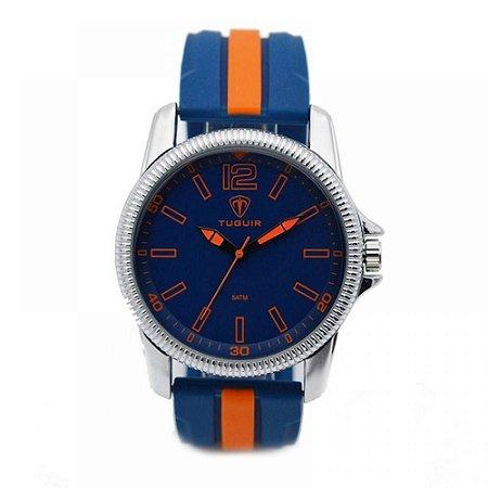 Relógio Masculino Tuguir Analógico 5017 - Azul, Laranja e Prata