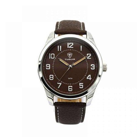 Relógio Masculino Tuguir Analógico 5031 - Marrom e Prata