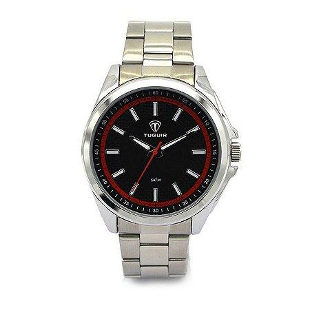 Relógio Masculino Tuguir Analógico 5044 Prata e Vermelho-