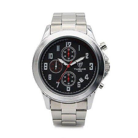 Relógio Masculino Tuguir Analógico 5056 - Prata e Preto-