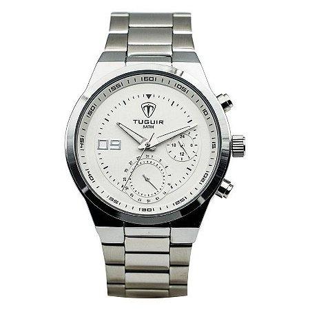 Relógio Masculino Tuguir Analógico 5440G - Prata e Branco-
