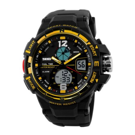 Relógio Masculino Skmei AnaDigi 1148 - Preto e Dourado