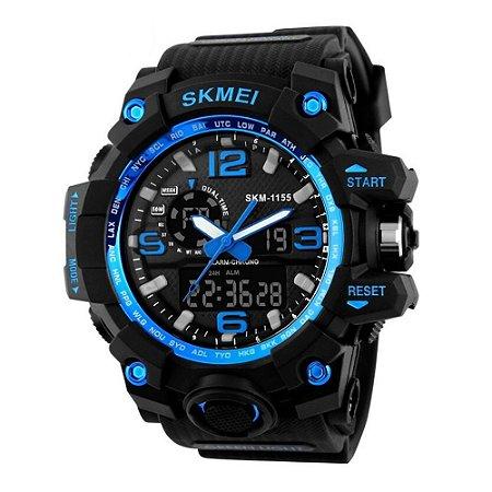 Relógio Masculino Skmei Anadigi 1155 Preto e Azul