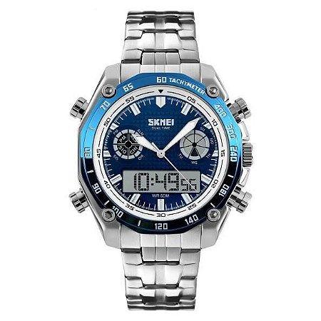Relógio Masculino Skmei AnaDigi 1204 - Prata e Azul