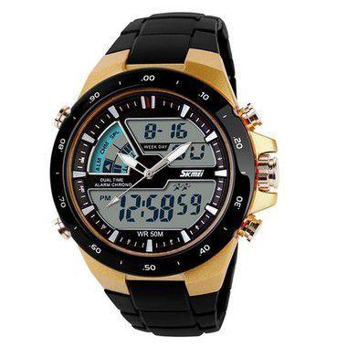 Relógio Masculino Skmei Anadigi  1016 Dourado-
