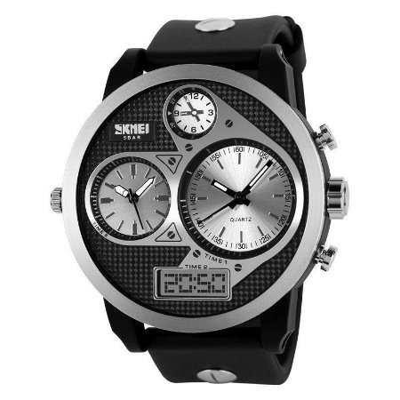 Relógio Masculino Skmei Anadigi  1033 Preto e Prata-
