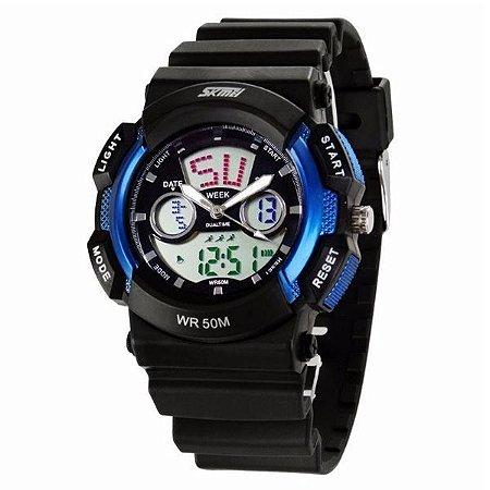 Relógio Masculino Skmei Anadigi 0895 Azul-