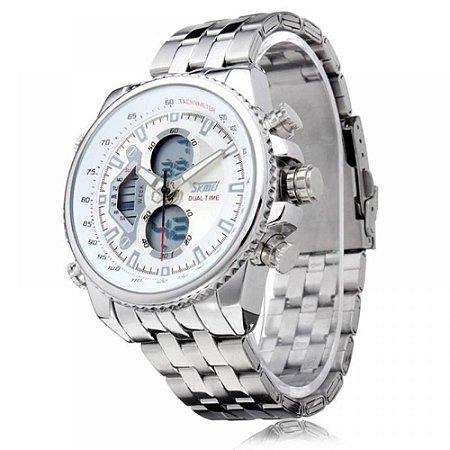 Relógio Masculino Skmei AnaDigi 0993 - Prata e Branco