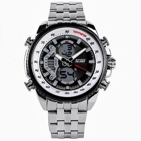 Relógio Masculino Skmei AnaDigi 0993 - Prata, Preto e Branco