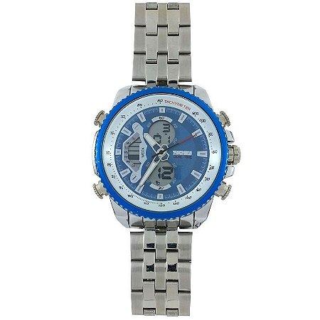Relógio Masculino Skmei Anadigi 0993 Prata e Azul-
