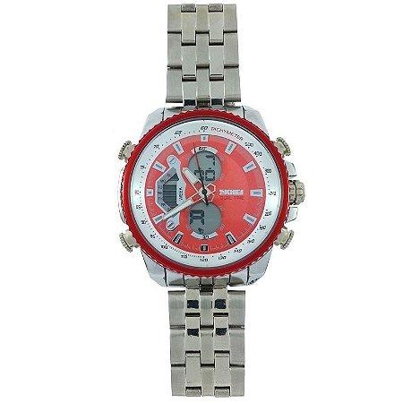 Relógio Masculino Skmei Anadigi 0993 Prata e Vermelho-