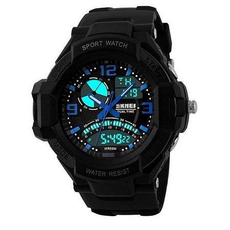 Relógio Masculino Skmei Anadigi 1017 Preto e Azul-