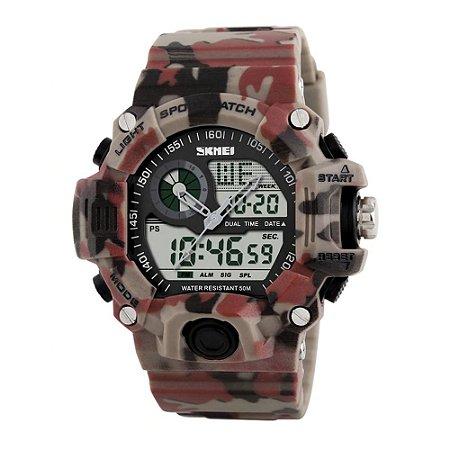 Relógio Masculino Skmei Anadigi 1029 Marrom e Vermelho