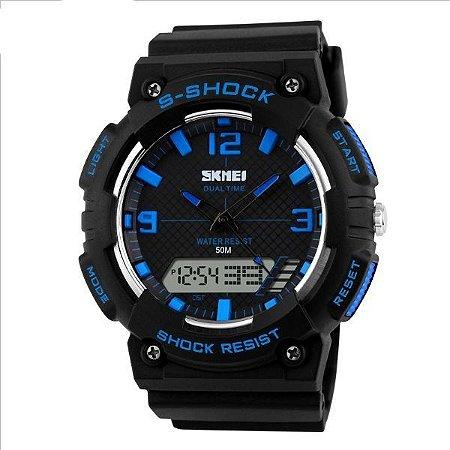 Relógio Masculino Skmei Anadigi 1057 Preto e Azul-