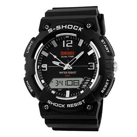 Relógio Masculino Skmei Anadigi 1057 Preto e Branco-