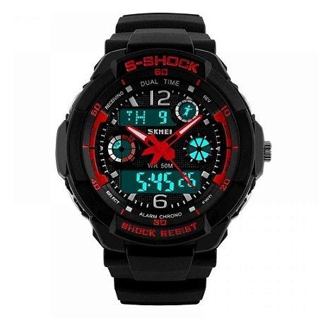 Relógio Masculino Skmei AnaDigi 1060 - Preto e Vermelho