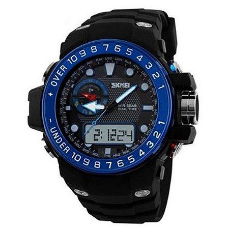 Relógio Masculino Skmei Anadigi 1063 - Preto e Azul-