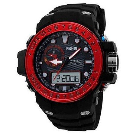 Relógio Masculino Skmei Anadigi 1063 Preto e Vermelho-