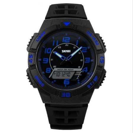 Relógio Masculino Skmei Anadigi 1065 Preto e Azul-