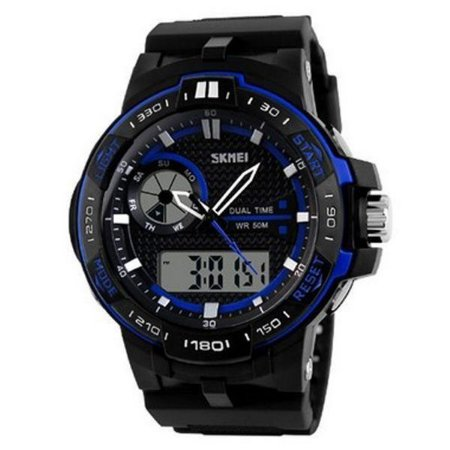 Relógio Masculino Skmei Anadigi 1070 Preto e Azul-
