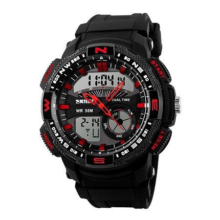 Relógio Masculino Skmei AnaDigi 1109 - Preto e Vermelho
