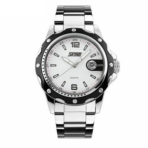 Relógio Masculino Skmei Analógico 0992 - Prata e Branco
