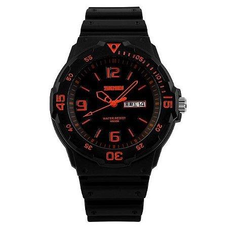 Relógio Masculino Skmei Analógico 1045 Preto e Laranja-