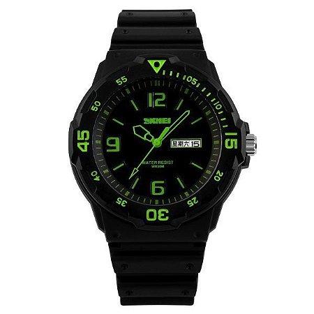 Relógio Masculino Skmei Analógico 1045 Preto e Verde-