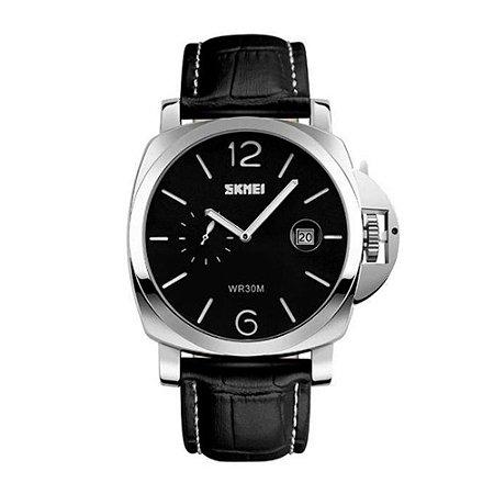 Relógio Masculino Skmei Analógico 1124 - Preto, Prata e Branco