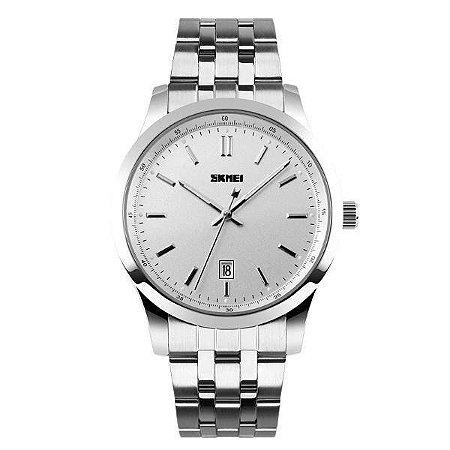 Relógio Masculino Skmei Analógico 1125 - Prata e Branco