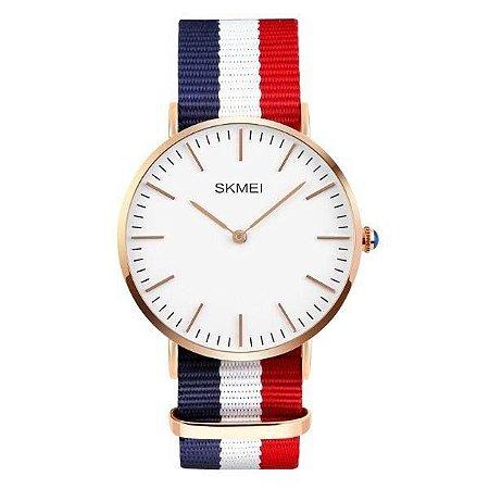 Relógio Masculino Skmei Analógico 1181 - Azul, Branco e Vermelho
