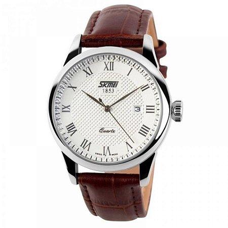 Relógio Masculino Skmei Analógico 9058 - Marrom e Branco