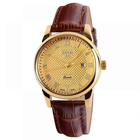 Relógio Masculino Skmei Analógico 9058 - Marrom e Dourado
