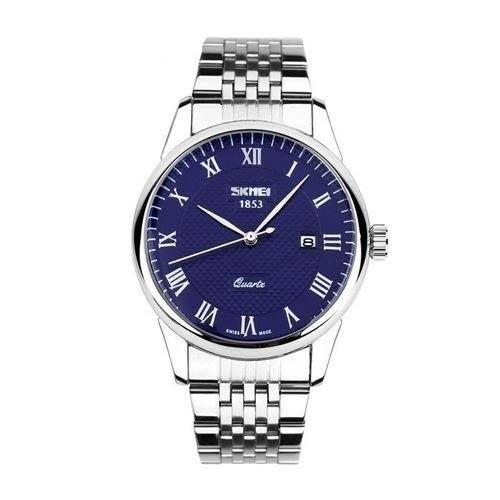 Relógio Masculino Skmei Analógico 9058 - Prata e Azul