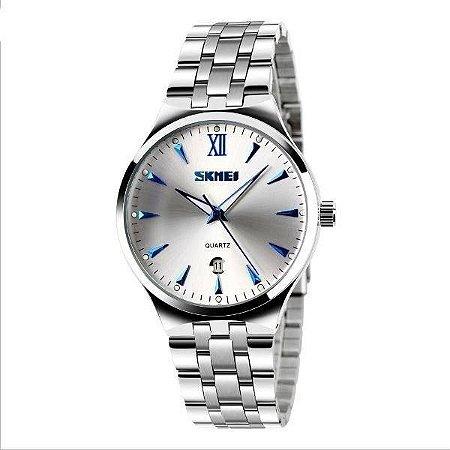 Relógio Masculino Skmei Analógico 9071 - Prata e Azul