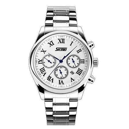 Relógio Masculino Skmei Analógico 9078 - Prata e Branco
