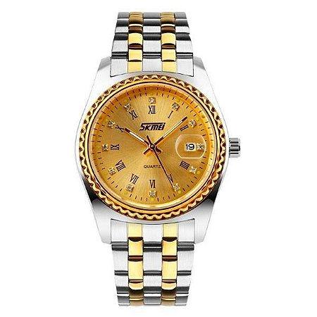 Relógio Masculino Skmei Analógico 9098 - Prata e Dourado